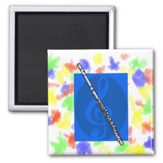 Flute with Blue Treble Clef Background Fridge Magnet