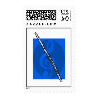 Flute with Blue Treble Clef Background Postage