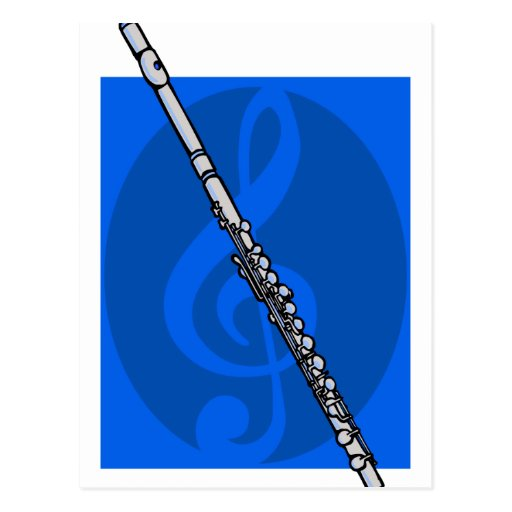 Flute with Blue Treble Clef Background Postcards