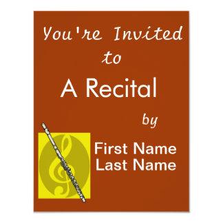 "Flute with yellow treble clef design image 4.25"" x 5.5"" invitation card"