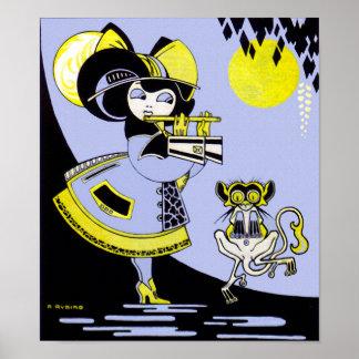 Flutist and the Monkey Print