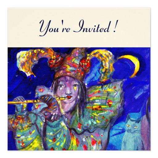 FLUTIST IN BLUE  felt paper Personalized Invites