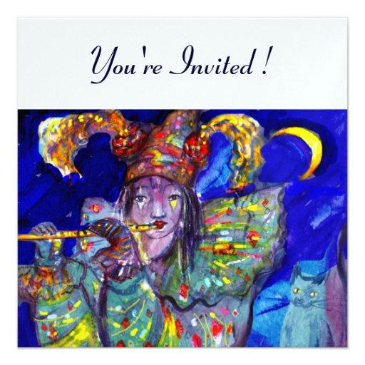 FLUTIST IN BLUE ,ice metallic paper Personalized Invites