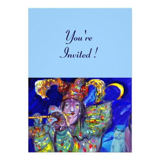 FLUTIST IN BLUE PERSONALIZED INVITE