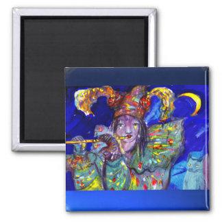 FLUTIST IN BLUE / Venetian Carnival Night 2 Inch Square Magnet