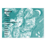 FLUTIST IN BLUE / Venetian Carnival Night Large Business Cards (Pack Of 100)