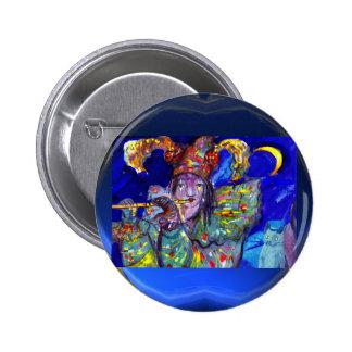 FLUTIST IN BLUE / Venetian Carnival Night Button