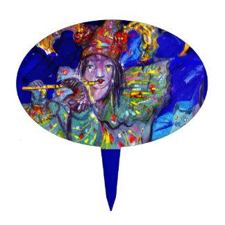 FLUTIST IN BLUE / Venetian Carnival Night Cake Topper