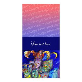 FLUTIST IN BLUE / Venetian Carnival Night Card