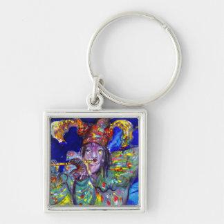 FLUTIST IN BLUE / Venetian Carnival Night Keychain