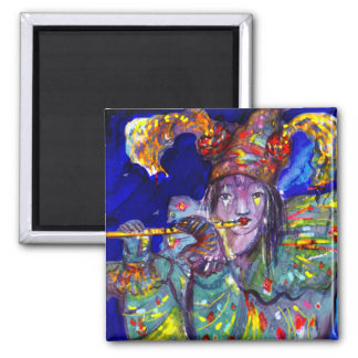 FLUTIST IN BLUE / Venetian Carnival Night Magnet