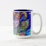 FLUTIST IN BLUE / Venetian Carnival Night Two-Tone Coffee Mug
