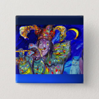 FLUTIST IN BLUE / Venetian Carnival Night Pinback Button