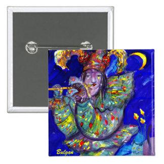 FLUTIST IN BLUE / Venetian Carnival Night Pinback Button