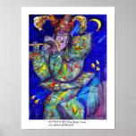 FLUTIST IN BLUE / Venetian Carnival Night Poster