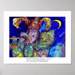 FLUTIST IN BLUE / Venetian Carnival Night Posters