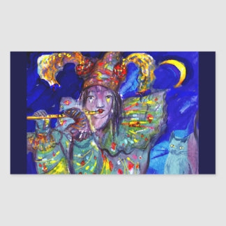 FLUTIST IN BLUE / Venetian Carnival Night Rectangular Sticker