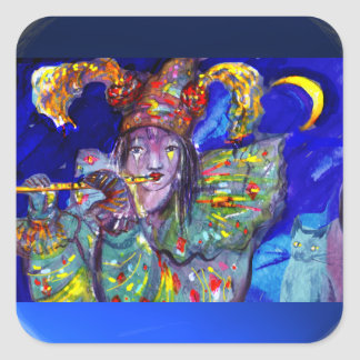 FLUTIST IN BLUE / Venetian Carnival Night Square Sticker