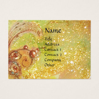 FLUTIST PORTRAIT / Monogram yellow brown green Business Card
