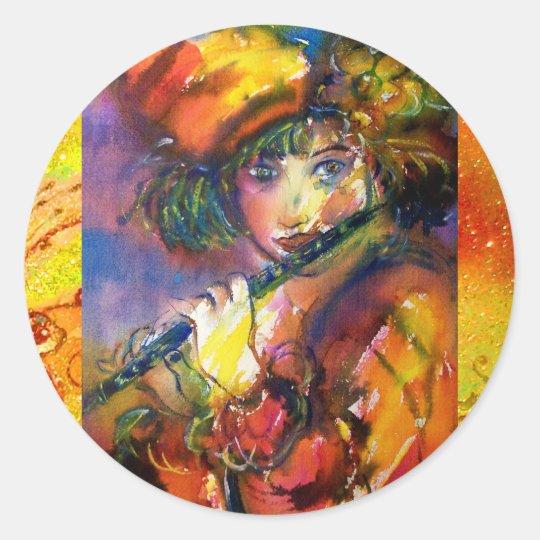 FLUTIST PORTRAIT / Venetian Masquerade Classic Round Sticker