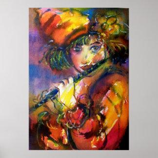 FLUTIST PORTRAIT / Venetian Masquerade Poster