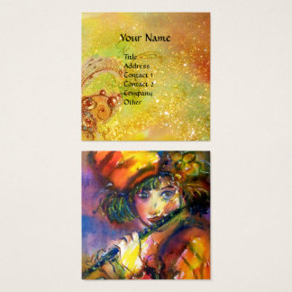 FLUTIST PORTRAIT / Venetian Masquerade Square Business Card