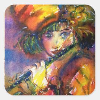 FLUTIST PORTRAIT / Venetian Masquerade Square Sticker