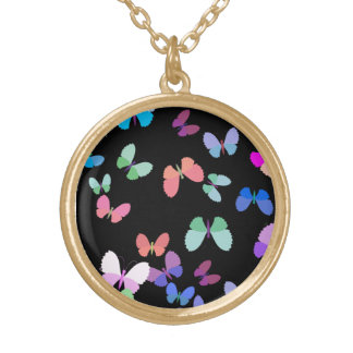 flutter by butterfly round pendant necklace
