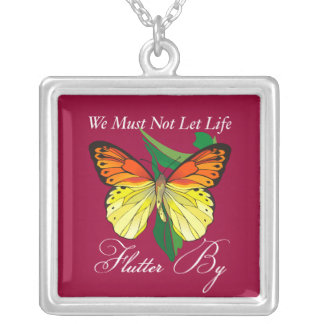 Flutter By Butterfly Square Pendant Necklace