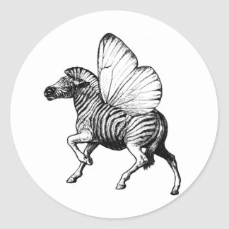 Flutter Zebra Classic Round Sticker