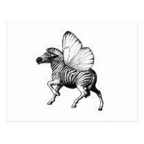 zebra,wings,strypes,stripes,butterfly, Postcard with custom graphic design