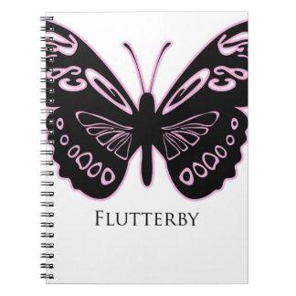 Flutterby Black Pink Glow Spiral Notebook