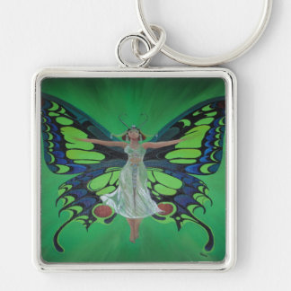 Flutterby Fairy Silver-Colored Square Keychain