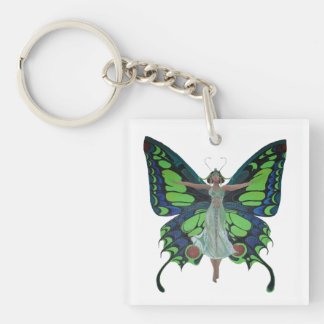 Flutterby Fairy Single-Sided Square Acrylic Keychain