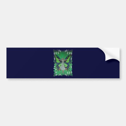 Flutterby Fairy with Leaves Bumper Stickers