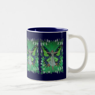 Flutterby Fairy with Leaves Two-Tone Coffee Mug