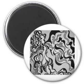 FLUTTERBY GIRL 2 INCH ROUND MAGNET