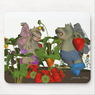 Flutterby Hippo, little fairy hippo folk, in straw Mouse Pad