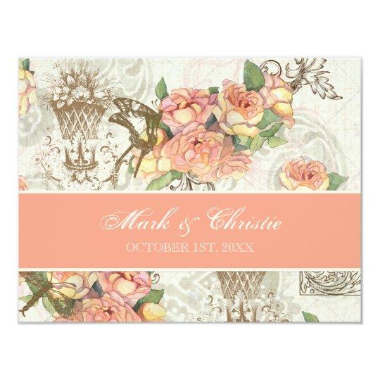 Flutterbyes 'n Roses Elegant Wedding RSVP Card