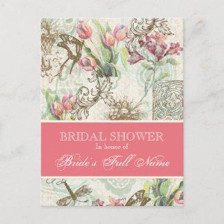 Flutterbyes n Tulip Elegant Bridal Shower Postcard postcard
