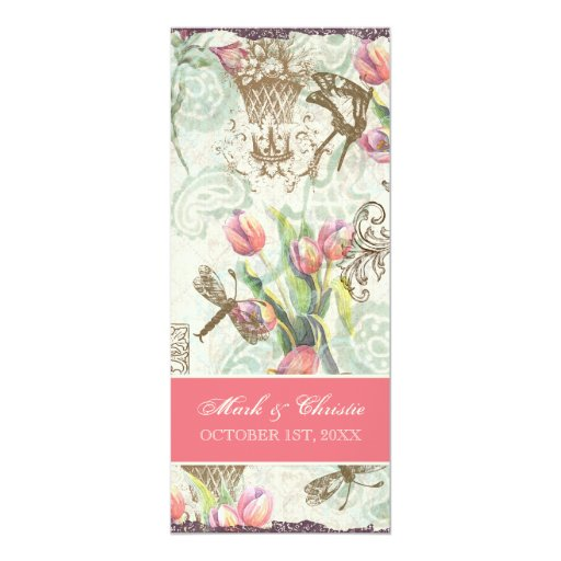 Flutterbyes 'n Tulips Elegant Menu Card Invites