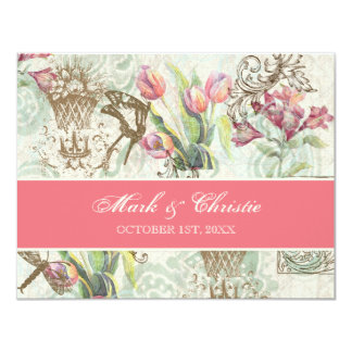 Flutterbyes 'n Tulips Elegant Wedding RSVP Card