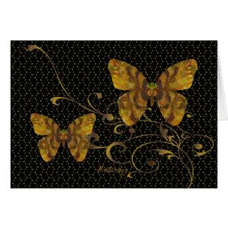 Flutterbys in Antique Gold Note Card