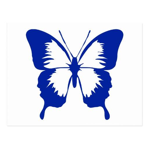 Fluttering Blue Butterfly Silhouette Postcard