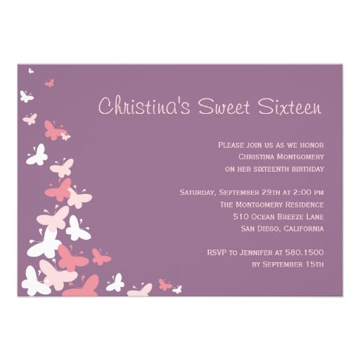 Fluttering Butterflies Birthday Party Invitation Cards