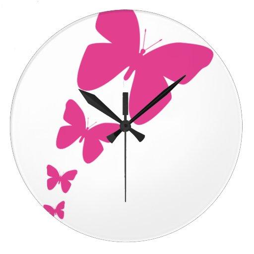 Fluttering Butterflies - Bright Pink Clocks