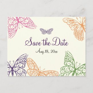 Fluttering Butterflies Save the Date ivory zazzle_postcard
