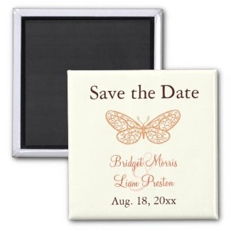 Fluttering Butterflies Save the Date Magnet ivory zazzle_magnet