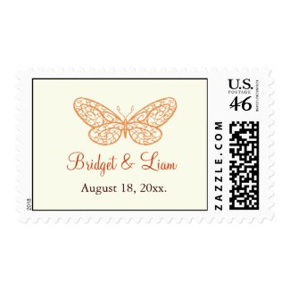 Fluttering Butterflies Stamp ivory zazzle_stamp