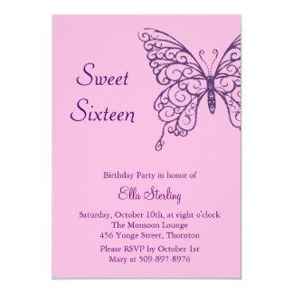Fluttering Butterflies Sweet Sixteen Invitation